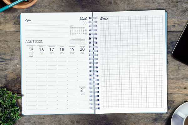 Agenda spiralé A30 « Le Week and Notes »